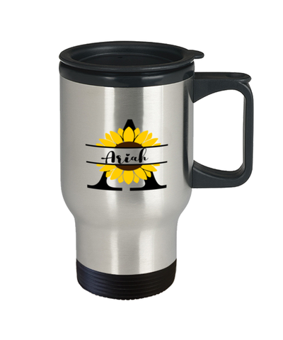 Ariah Sunflower Travel Mug Personalized 14 oz Cup gift for Home or Work