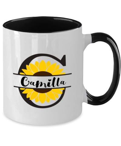 Camilla Sunflower Mug Personalized 11 oz Two-Toned Coffee Cup for Home or Work