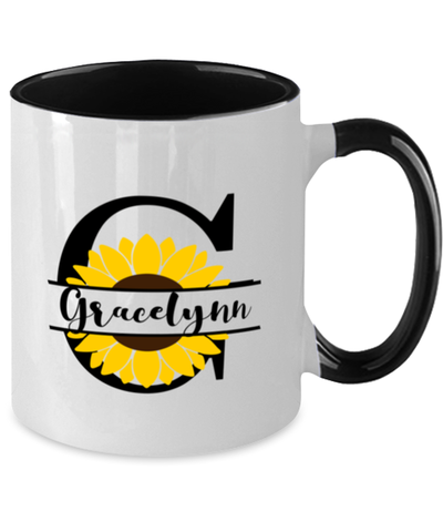 Image of Gracelynn Sunflower Mug Personalized 11 oz Two-Toned Coffee Cup for Home or Work