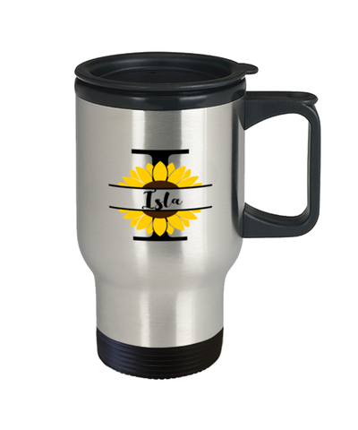 Isla Sunflower Travel Mug Personalized 14 oz Cup gift for Home or Work