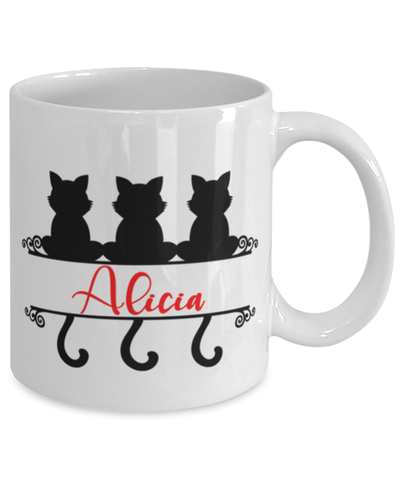 Alicia Cat Lady Mug Personalized Funny Feline Mom Coffee Cup