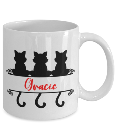 Gracie Cat Lady Mug Personalized Funny Feline Mom Coffee Cup