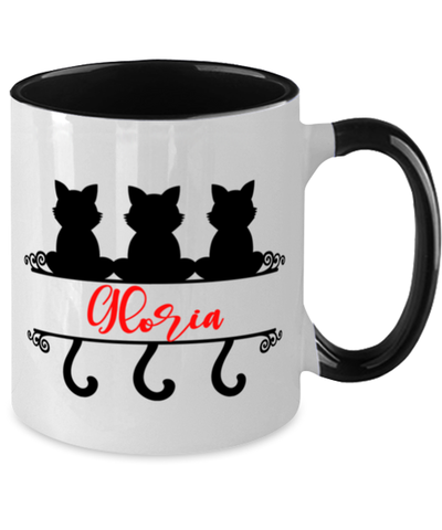 Gloria Cat Lady Mug Personalized Feline Mom Two-Toned Coffee Cup