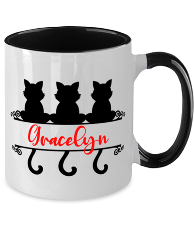 Image of Gracelyn Cat Lady Mug Personalized Feline Mom Two-Toned Coffee Cup