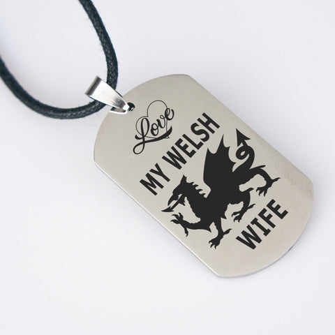 Love My Welsh Wife Pendant Gift for Husband Wales Nationality Novelty Birthday Present for Her