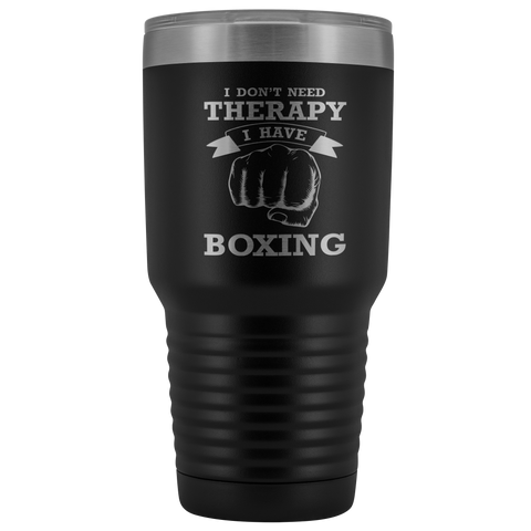 Image of I Don't Need Therapy I Have Boxing Pugilist Insulated Polar Camel Laser Etched Tumbler With Lid Gift for Boxer Fighter Hobby Men Women Novelty Birthday 30 oz Hot/Cold Cup