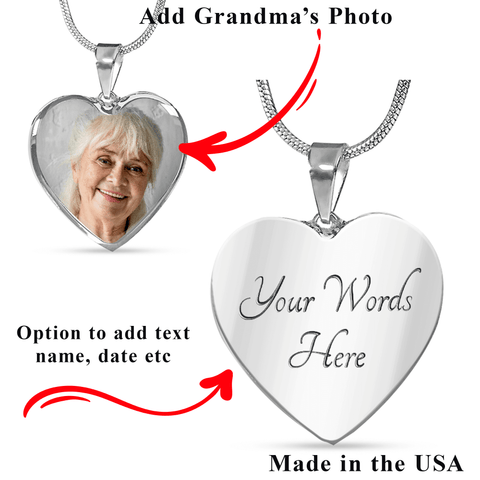 Grandma Memorial Heart Photo Upload Necklace Gift I see Butterflies Remembrance Message Card