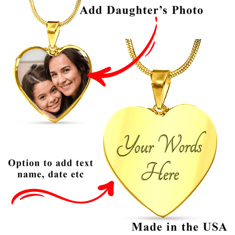 Daughter Memorial Heart Photo Upload Necklace Gift I see Butterflies Remembrance Message Card