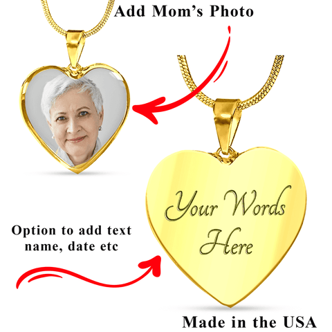 Mom Memorial Heart Photo Upload Necklace Gift I see Butterflies Remembrance Message Card