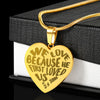 Faith 1 John 4:19 Engraved Gold Heart Pendant Gift We Love Because He First Loved Us Christian Necklace