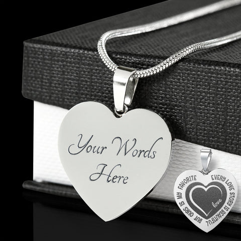 Romantic Love Story Engraved Pendant Valentine's Day Birthday Gift for Her