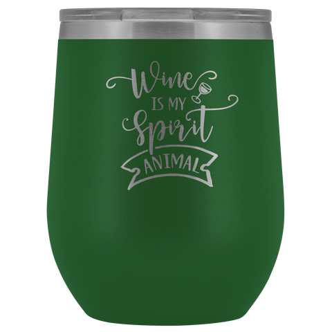 Wine is My Spirit Animal Stemless 12 oz. Etched Tumbler With Lid Gift Polar Camel Etched Hot/Cold Cup