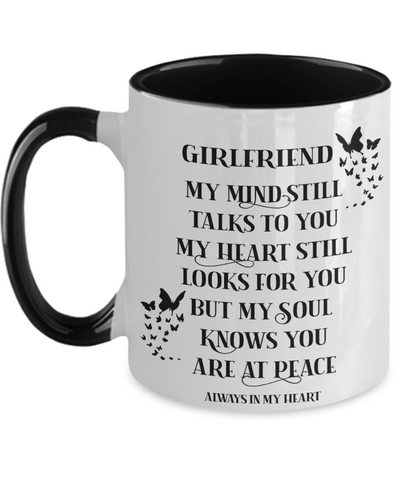 Image of Girlfriend Memorial Mug My Mind Still Talks Loving Memory Keepsake Butterfly Two-Toned Cup