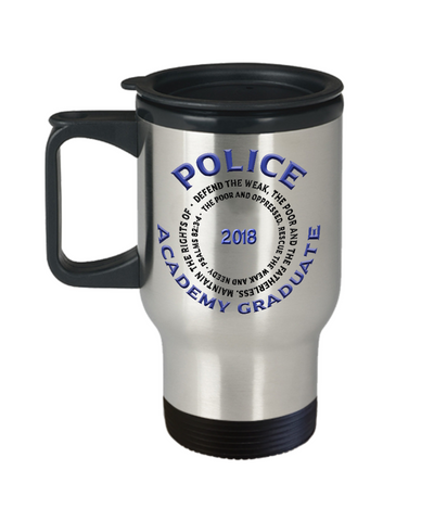 Image of Police Academy Graduate 2018 Psalms 82:3-4 Gifts Police Graduation Travel Mug Gifts