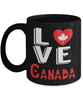Love Canada Black Mug Gift Novelty Canadian Keepsake Coffee Cup