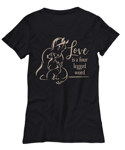 Image of Love is a Four Legged Word Pet Lover Shirt Gift Dog Cat Horse Animal Novelty Tee