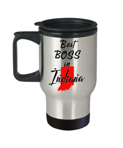 Image of Best Boss in Indiana State Travel Mug With Lid Unique Novelty Birthday Christmas Gifts for Employer Day