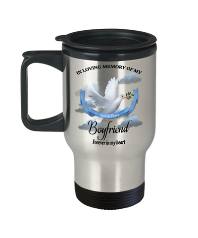 Boyfriend Memorial Remembrance Insulated Travel Mug With Lid Forever in My Heart In Loving Memory Bereavement Gift for Support and Strength Coffee Cup
