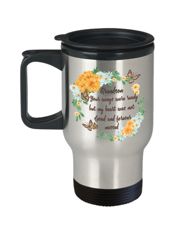 Grandson In Loving Memory Gift Mug Your Wings Were Ready But My Heart Was Not Memorial Remembrance Coffee Cup