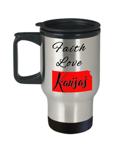 Patriotic USA Gift Travel Mug With Lid Faith Love Kansas Unique Novelty Birthday Christmas Ceramic Coffee Tea Cup