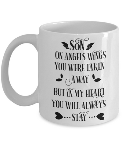 Son Angel Memorial Mug Gift in Loving Memory Remembrance Coffee Cup