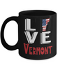 Love Vermont State Black Mug Gift Novelty American Keepsake Coffee Cup