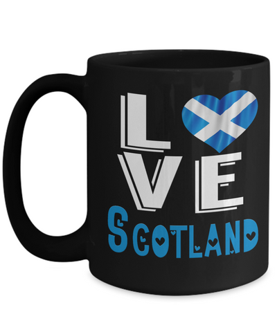 Image of Love Scotland Black Mug Gift Novelty Scottish Keepsake Coffee Cup