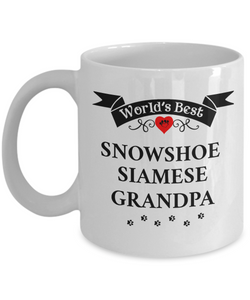 World's Best Snowshoe Siamese Grandpa Cup Unique Cat Ceramic Coffee Mug Gifts for Men