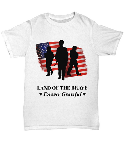 United States Proud Veteran Shirt Gift Land of Brave Forever Grateful Appreciation T-Shirt