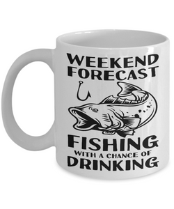 Funny Fishing Gifts Weekend Forecast Fishing With a Chance of Drinking Funny Fishing Mug