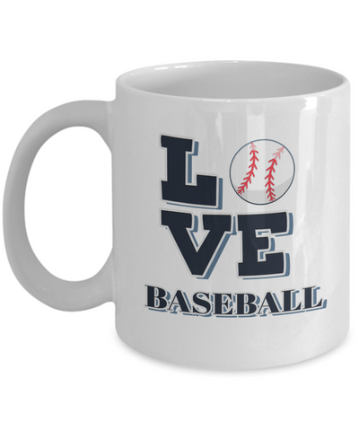 "Image of Gift for Baseball Sport  Fan, "" Love Baseball"" Coffee Mug for Baseball Lovers"