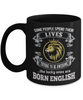 Born English Black Mug England Gift Unique Novelty Birthday Ceramic Coffee Cup