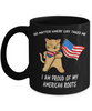 Proud American Roots Cat America Flag Black Mug Gift No Matter Where Life Takes Me Novelty Cup