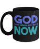 God I Want Patience Now Faith Black Mug Gift Novelty Ceramic Coffee Cup