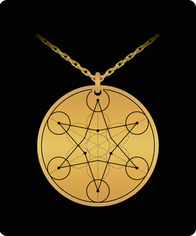 Hexagram Pendant Sacred Geometry Laser Etched Gold Color Necklace
