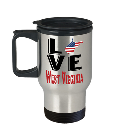 Image of Love West Virginia State Travel Mug Gift Novelty American Keepsake Coffee Cup