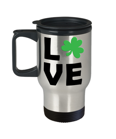 Love Irish Shamrock Travel Mug With Lid St Patrick's Day Ireland Gift Ideas Coffee Cup