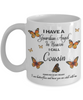 Cousin In Loving Memory Mug Guardian Angel in Heaven Monarch Butterfly Gift Memorial Ceramic Coffee Cup