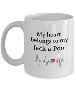 My Heart Belongs to My Jack-a-Poo Mug Dog Lover Novelty Birthday Gifts Unique Work Ceramic Coffee Gifts for Men Women