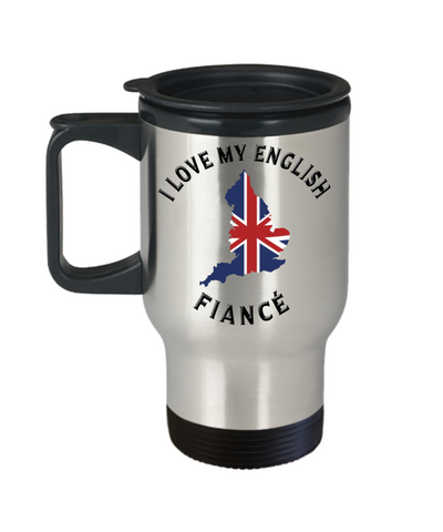 I Love My English Fiancé Travel Mug With Lid Novelty Birthday Gift Coffee Cup