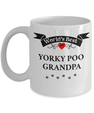 Image of World's Best Yorkie Poo Grandpa Cup Unique Yorkshire Terrier Ceramic Dog Coffee Mug Gifts