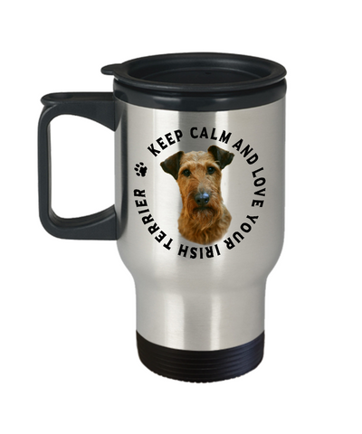 Image of Keep Calm and Love Your Irish Terrier Travel Mug With Lid Gift for Dog Lovers