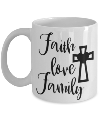 Image of Faith Love Family Bible Verse Mug Novelty Birthday Gifts Best Scripture Verse Quote Gifts Ceramic Coffee Tea Cup