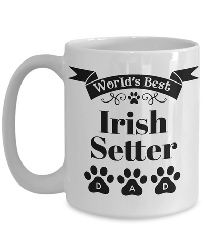 Image of World's Best Irish Setter Dog Dad Mug Fun Novelty Birthday Gift Work Coffee Cup