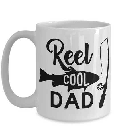 Image of Reel Cool Dad Fishing Mug Gift For Fisher Father Novelty Coffee Cup