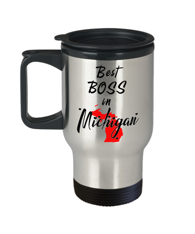Image of Best Boss in Michigan State Travel Mug With Lid Unique Novelty Birthday Christmas Gifts for Employer Day