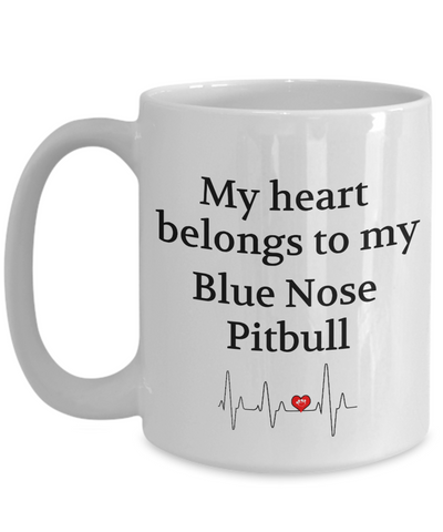 My Heart Belongs to My Blue Nose Pitbull Mug Dog Lover Novelty Birthday Gifts Unique Work Ceramic Coffee Cup Gifts for Men Women