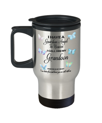 Grandson In Memorial Butterfly Gift Travel Mug With Lid  I Have a Guardian Angel in Heaven Forever in My Heart I see Butterflies and know you are still with me Loveing Memory Coffee Cup