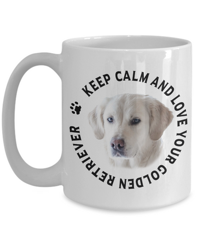 Image of Keep Calm and Love Your Golden Retriever Ceramic Mug Gift for Dog Lovers