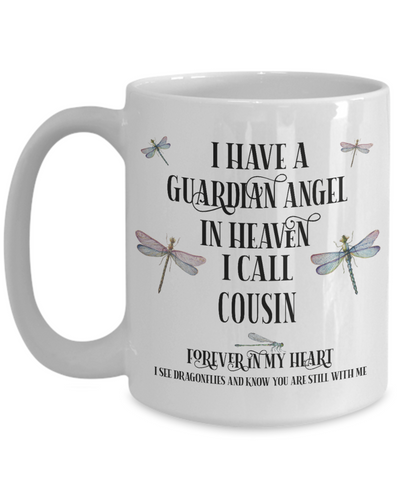 Cousin Dragonfly Memorial Mug Gift Guardian Angel In Loving Memory Keepsake Cup